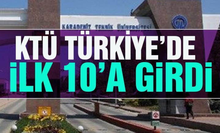 KTÜ Türkiye'de İlk 10'a Girdi !